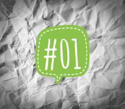 Links der Woche 01/2018 - grüne Sprechblase mit der Nummer 1 auf verknittertem Papier