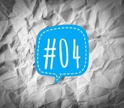 Links der Woche 04/2018 - hellblaue Sprechblase mit der Nummer 4 auf verknittertem Papier