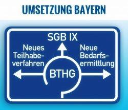 Bundesteilhabegesetz (BTHG), Umsetzung in Bayern (BayTHG) - Symbolbild: Autobahnschild Kreisverkehr mit drei Ausfahrten
