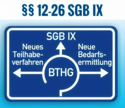Bundesteilhabegesetz (BTHG), §§ 12-26 SGB IX - Symbolbild: Autobahnschild Kreisverkehr mit drei Ausfahrten