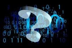 Binärcode und Fragezeichen