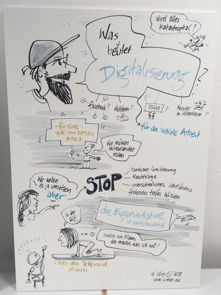 """""""Was bedeutet Digitalisierung in der Sozialen Arbeit?"""" Gemeinsam Konzepte entwickeln mit #digitaleSoA (Soziale Arbeit.digital), gezeichnet von Wolfgang Irber, www.wirber.de"""