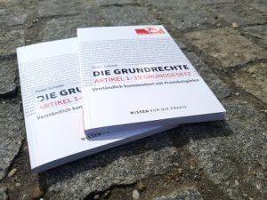 Die Grundrechte - 2 Bücher auf einem Kopfsteinpflaster