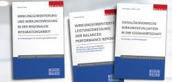 Die Abbildung zeigt drei Titel der blauen Reihe zum Thema Wirkungsanalyse
