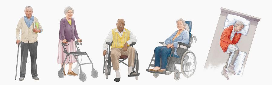 Mobilitätsgalerie - fünf alte Menschen - der erste mit Gehstock, der zweite mit Rollator, der dritte mit Gehstock und Rollstuhl, der vierte mit Rollstuhl, der fünfte im Pflegebett